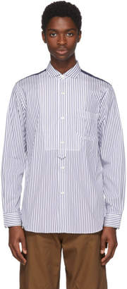 Junya Watanabe White and Navy Striped Shirt