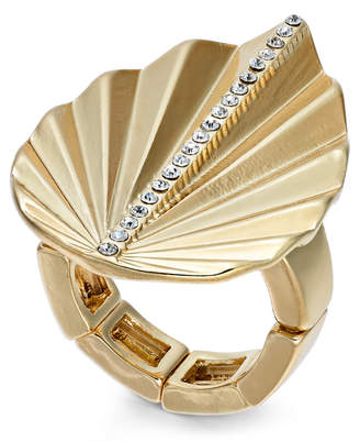 Thalia Sodi Gold-Tone Crystal Palm Leaf Stretch Ring