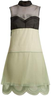 Prada Cigaline contrast-panel pleated organza dress