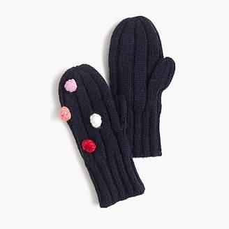 J.Crew Girls' knit mittens with pom-poms