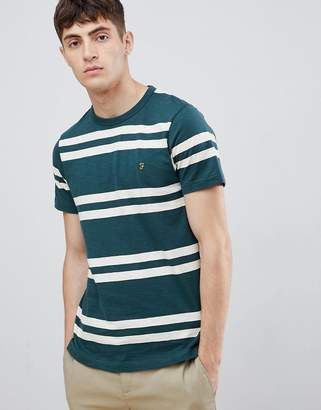 Farah Hewitt wide stripe t-shirt in green
