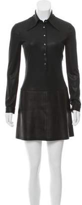 Barbara Bui Leather-Trimmed Long Sleeve Dress Black Leather-Trimmed Long Sleeve Dress