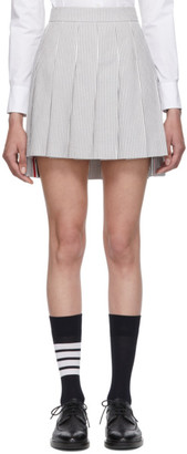 Thom Browne Grey and White Pleated Dropped Back Miniskirt