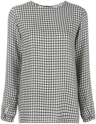 Dusan graphic check effect blouse