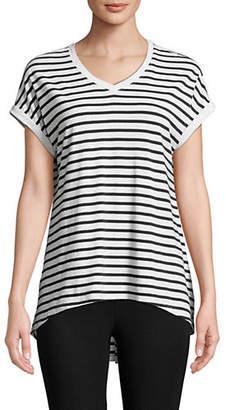 Calvin Klein Striped V-Neck Hi-Lo Top
