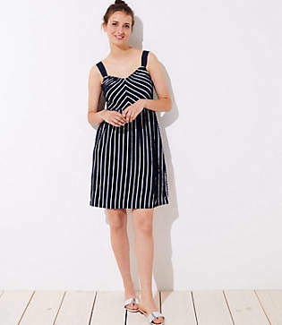 LOFT Petite Striped Strappy Flare Dress
