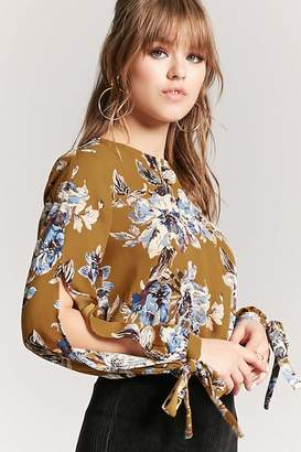 Forever 21 Floral Tie-Sleeve Top