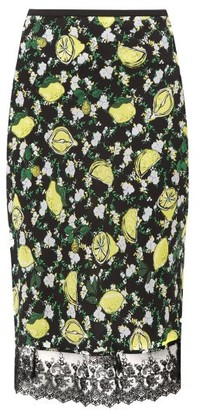 Diane von Furstenberg Chrissy Lemon Print Silk Knee Length Skirt - Womens - Black Multi