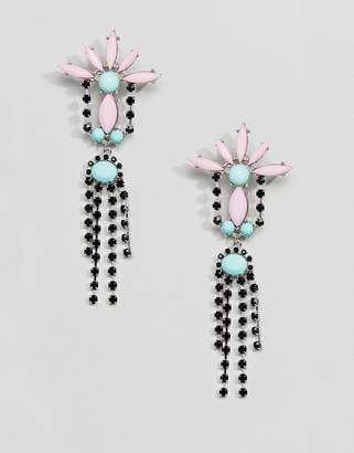 Asos DESIGN Crystal And Jewel Drop Earrings