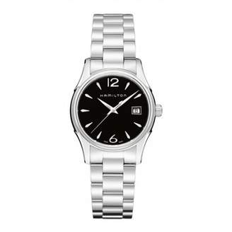 Hamilton Lady Jazzmaster Women's Quartz Watch with Black Dial Analogue Display and Silver Stainless Steel Bracelet H32351135