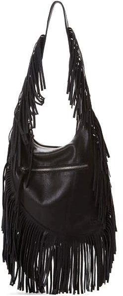 Linea Pelle Janis Fringe Shoulder Bag in Vintage Grey and Vintage Black