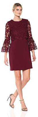 Laundry by Shelli Segal Women's Crepe Dress Lace Popover