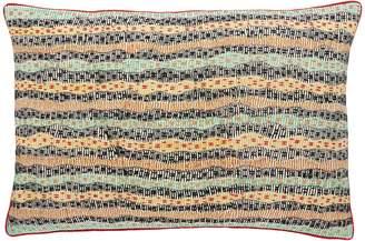 Andrea S Andreas Multi-coloured embroidered striped cushion 40 x 60cm