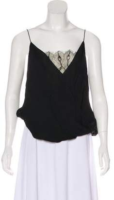 Jay Godfrey Silk Lace-Trimmed Top