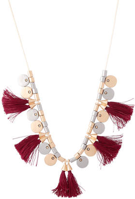 Basque Mixed Disc And Tassel Boho Necklace