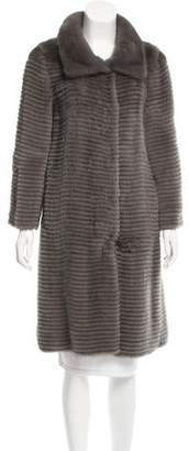 Oscar de la Renta Mink Fur Knee-Length Coat