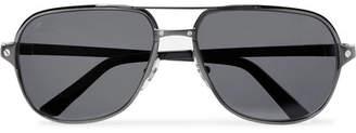 Cartier Eyewear Santos De Aviator-Style Leather-Trimmed Gunmetal-Tone Polarised Sunglasses