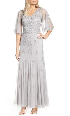 Adrianna Papell Beaded & Embroidered Chiffon Evening Dress