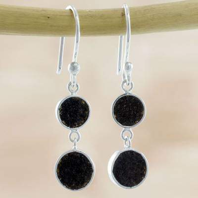 Moons of Fire Artisan Crafted Volcanic Ash and Sterling Silver Earrings