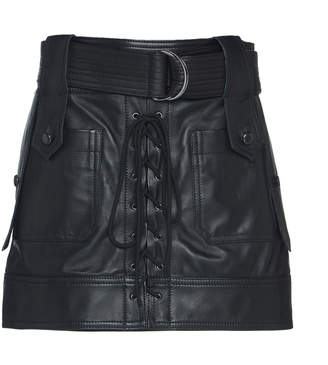 Dundas Lace Up Leather Mini Skirt With Belt