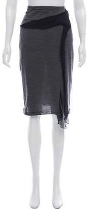 Hussein Chalayan Chiffon-Accented Knee-Length Skirt