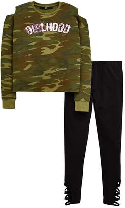 Very Girls Camo Cold Shoulder Sweatshirt & Legging Outfit
