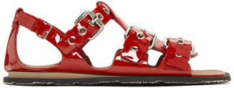 Miu Miu Red Patent Three-Buckle Sandals