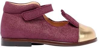Ocra Glitter Leather Shoes W/ Gold Ears