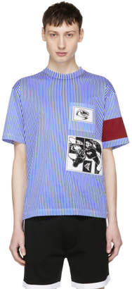 Prada Blue and White Stripe JWP Riga Patch T-Shirt