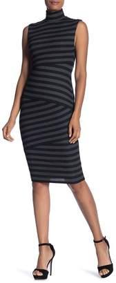 Bailey 44 Stripe Midi Turtleneck Dress