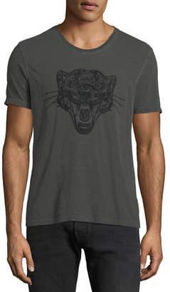 John Varvatos Men's Panther Head Embroidered T-Shirt
