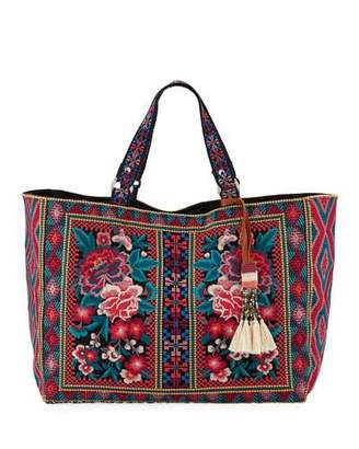 Johnny Was Annaliese Embroidered Cotton Canvas Tote Bag