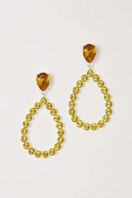 H&M Teardrop Rhinestone Earrings - Yellow
