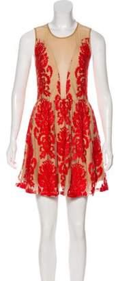 For Love & Lemons Mesh Sleeveless Dress Tan Mesh Sleeveless Dress
