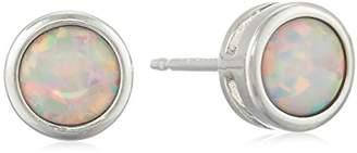 Sterling Silver Genuine Garnet 5mm Bezel Set January Birthstone Stud Earrings