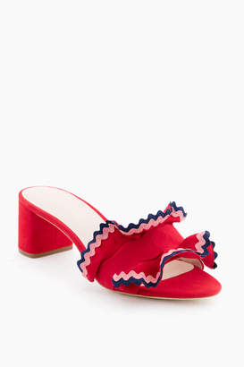 Loeffler Randall Bright Red Vera Ruffle Slide