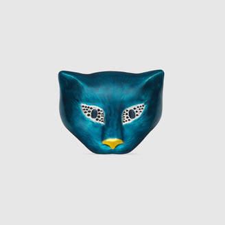 Gucci Silver cat head brooch with enamel