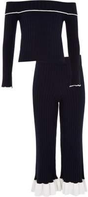 River Island Girls navy knit ribbed bardot top outfit