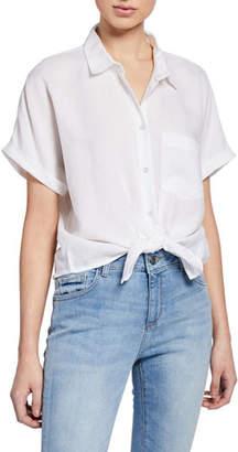 DL1961 Premium Denim Christy Button-Down Short-Sleeve Tie-Front Top
