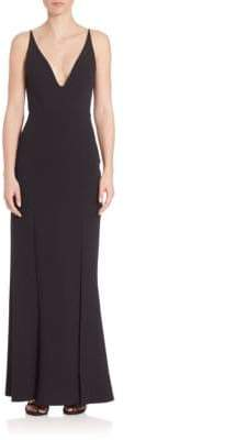 ABS by Allen Schwartz Deep V-Neck Gown