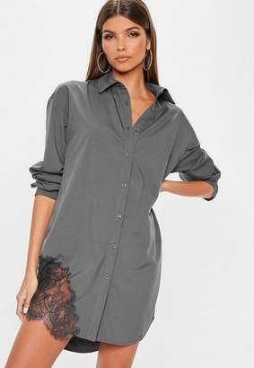 Missguided Gray Lace Trim Shirt Dress