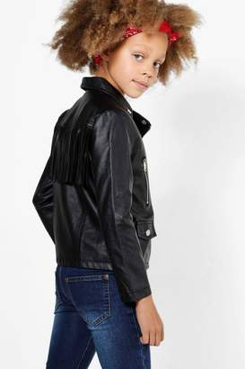 boohoo Girls Fringed Faux Leather Biker Jacket