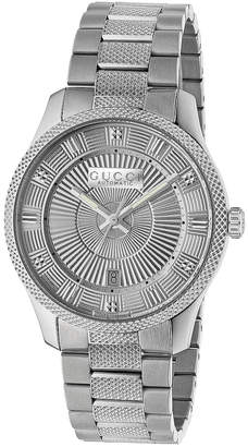 Gucci 40MM Automatic Etched Face Watch in Silver | FWRD
