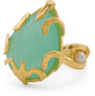 Made In Turkey Aqua Chalcedony Filigree Ring