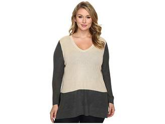 Vince Camuto Specialty Size Plus Size Long Sleeve V-Neck Neck Waffle-Stitch Color Block Sweater Women's Sweater