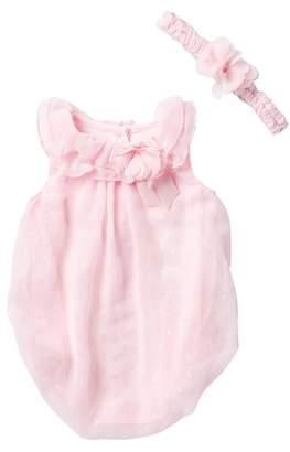 Little Me Sparkle Bubble Bodysuit & Headband Set (Baby Girls)