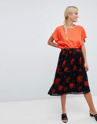 Vila floral pleated skirt