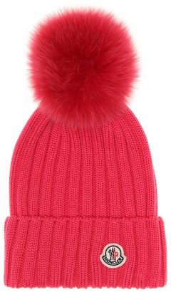 Moncler Fur-trimmed wool beanie
