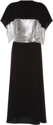 Crepe Gown With Chainmail Waist Panel