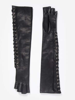 a3b4a1015566 Manokhi MANOKHI WOMEN S BLACK LONG LEATHER GLOVES WITH FRONT LACES